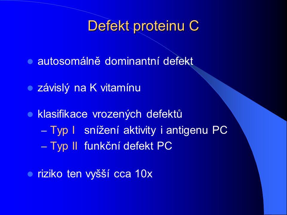 Defekt proteinu C autosomálně dominantní defekt závislý na K vitamínu