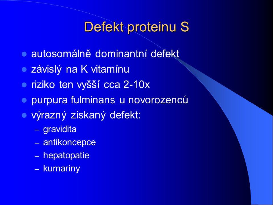 Defekt proteinu S autosomálně dominantní defekt závislý na K vitamínu