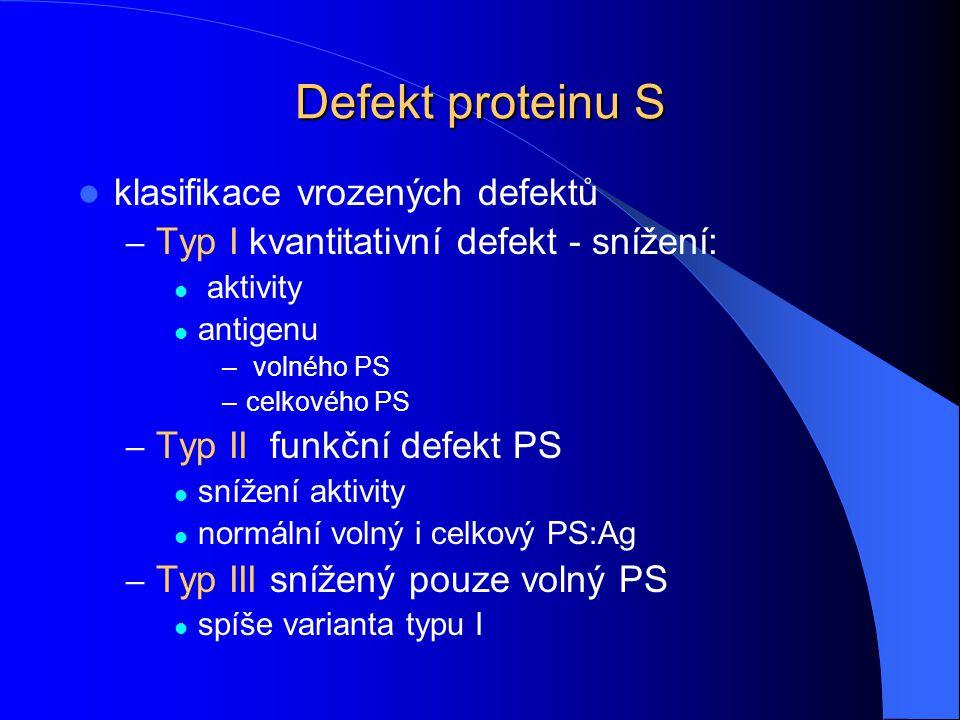 Defekt proteinu S klasifikace vrozených defektů
