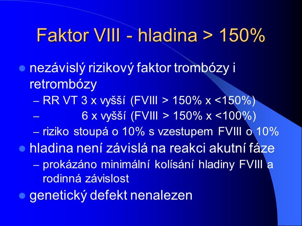 Faktor VIII - hladina > 150%