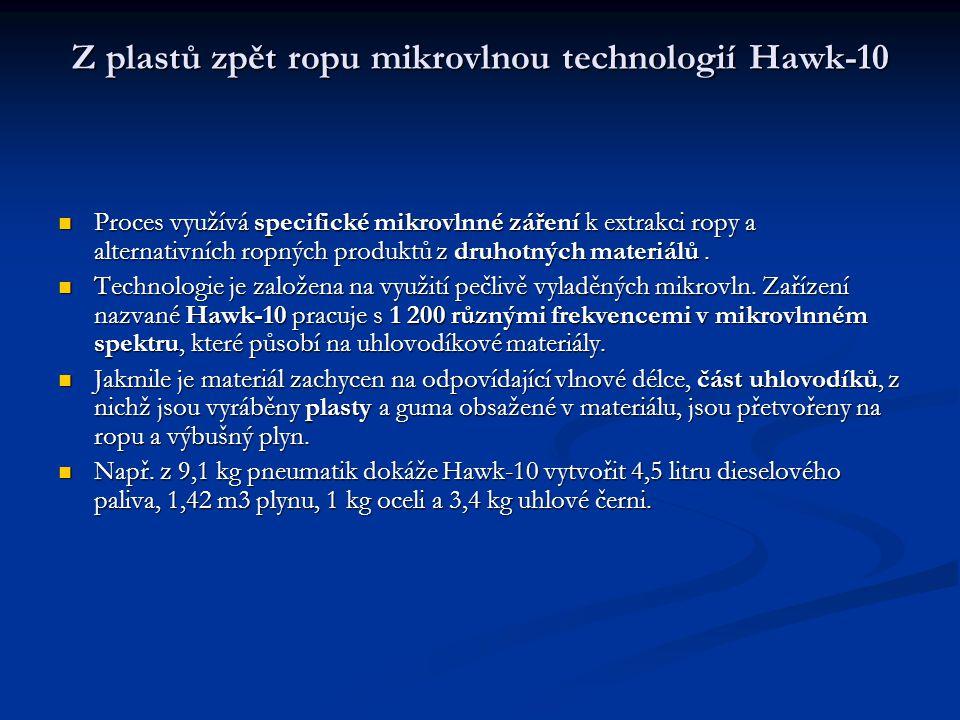 Z plastů zpět ropu mikrovlnou technologií Hawk-10