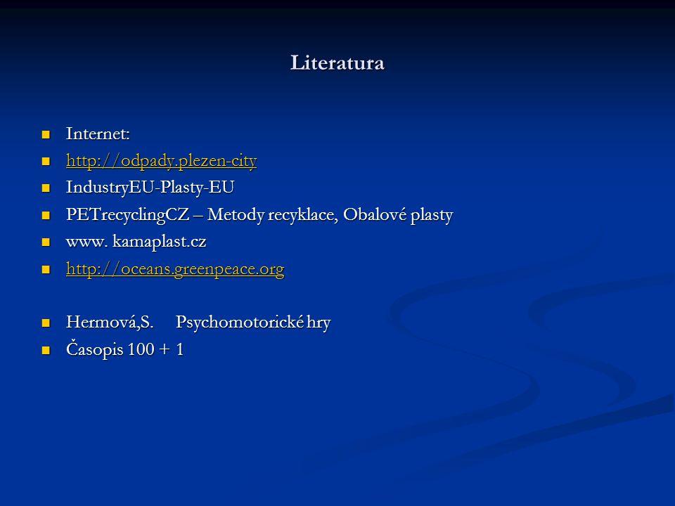 Literatura Internet: http://odpady.plezen-city IndustryEU-Plasty-EU