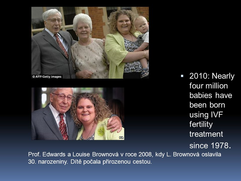 2010: Nearly four million babies have been born using IVF fertility treatment since 1978.