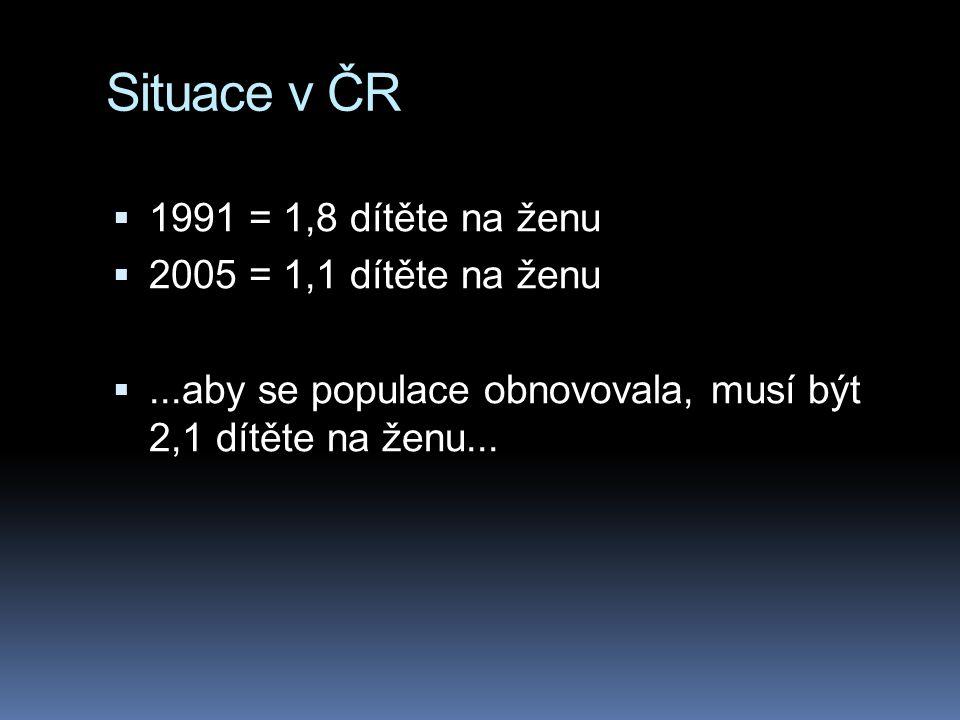 Situace v ČR 1991 = 1,8 dítěte na ženu 2005 = 1,1 dítěte na ženu