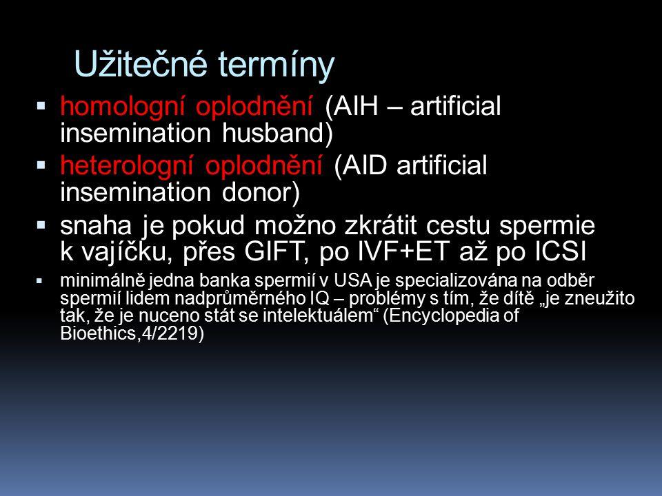 Užitečné termíny homologní oplodnění (AIH – artificial insemination husband) heterologní oplodnění (AID artificial insemination donor)