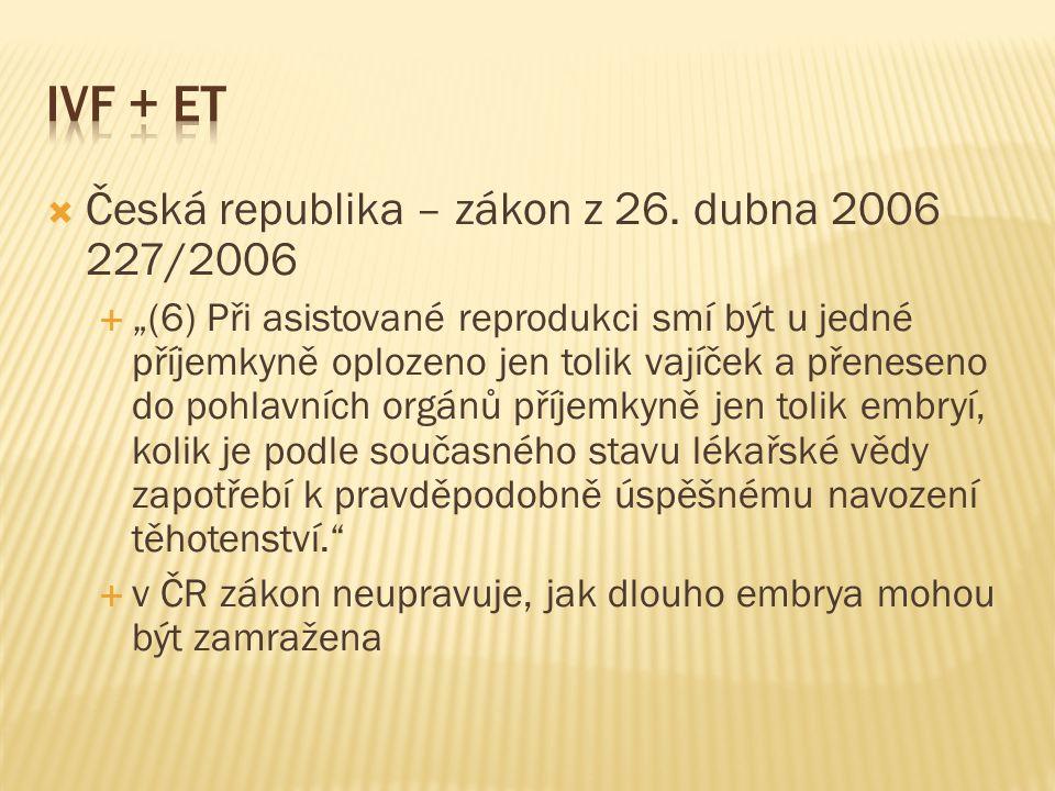 IVF + ET Česká republika – zákon z 26. dubna 2006 227/2006