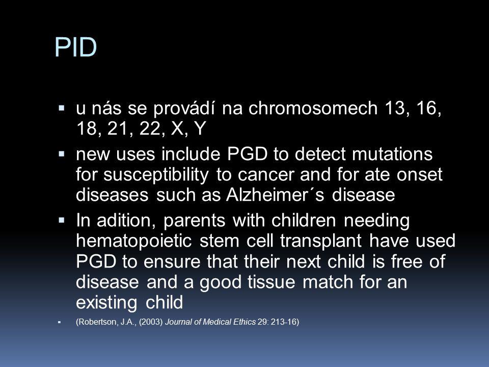 PID u nás se provádí na chromosomech 13, 16, 18, 21, 22, X, Y