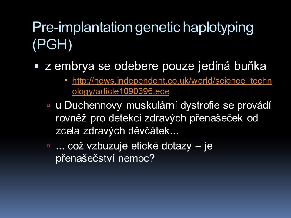 Pre-implantation genetic haplotyping (PGH)