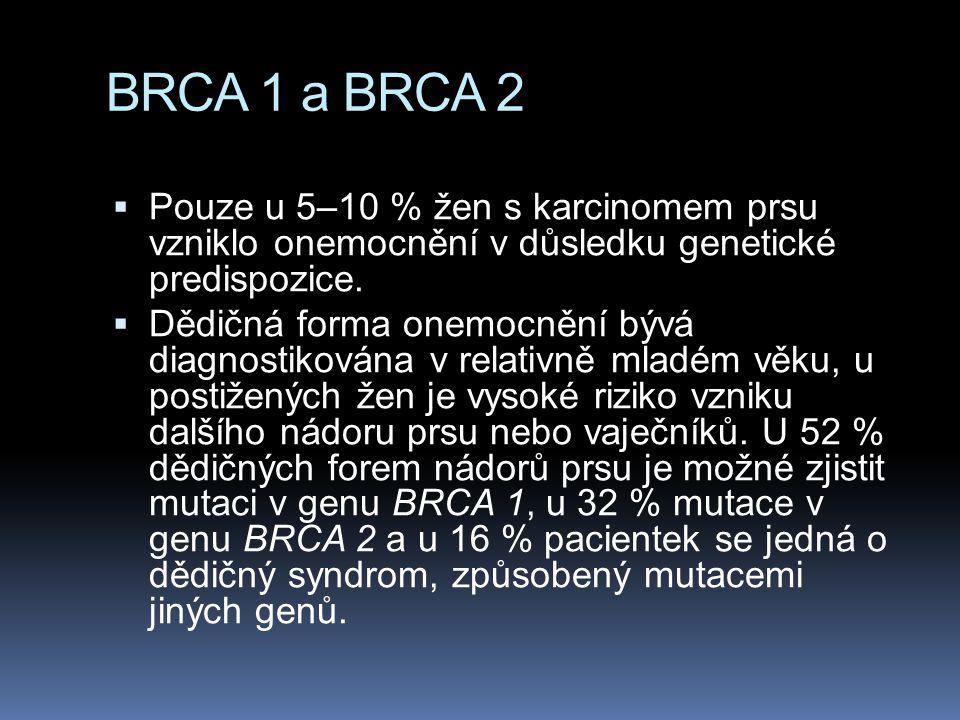 BRCA 1 a BRCA 2 Pouze u 5–10 % žen s karcinomem prsu vzniklo onemocnění v důsledku genetické predispozice.