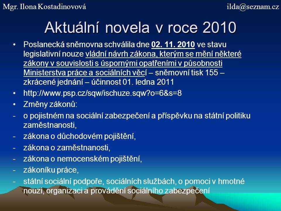 Aktuální novela v roce 2010 Mgr. Ilona Kostadinovová ilda@seznam.cz