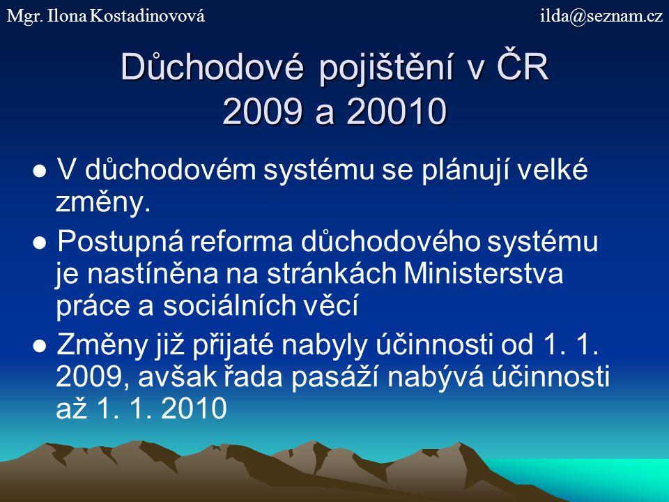 Důchodové pojištění v ČR 2009 a 20010