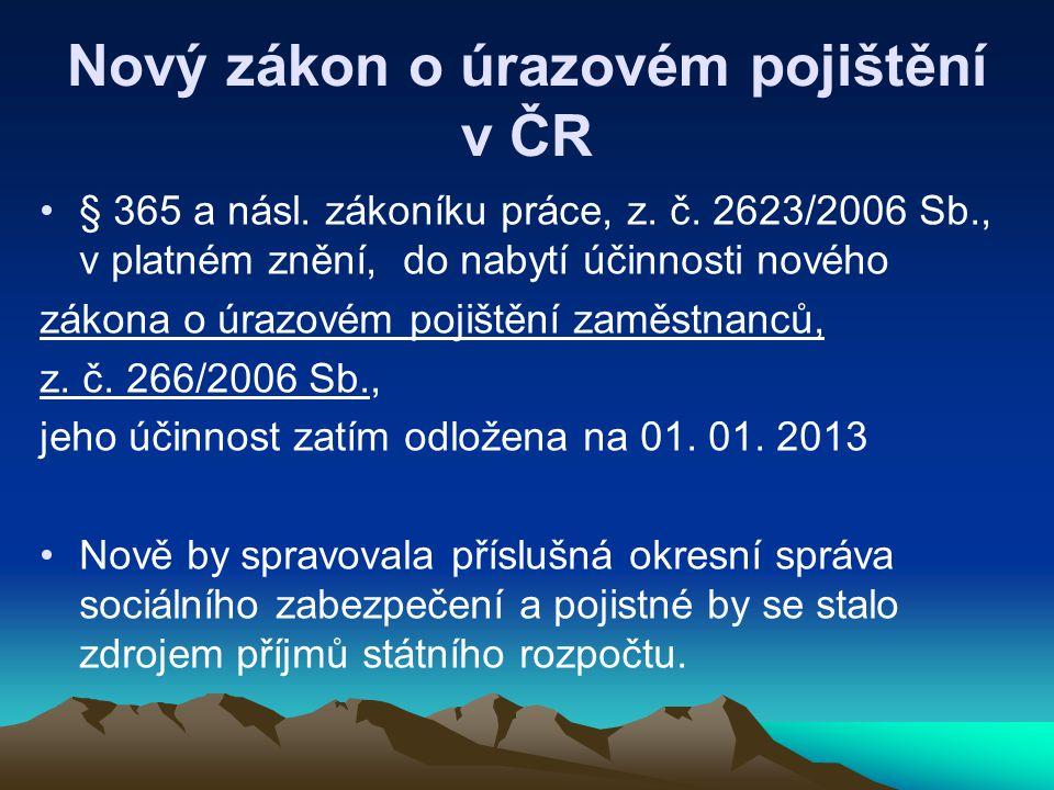 Nový zákon o úrazovém pojištění v ČR