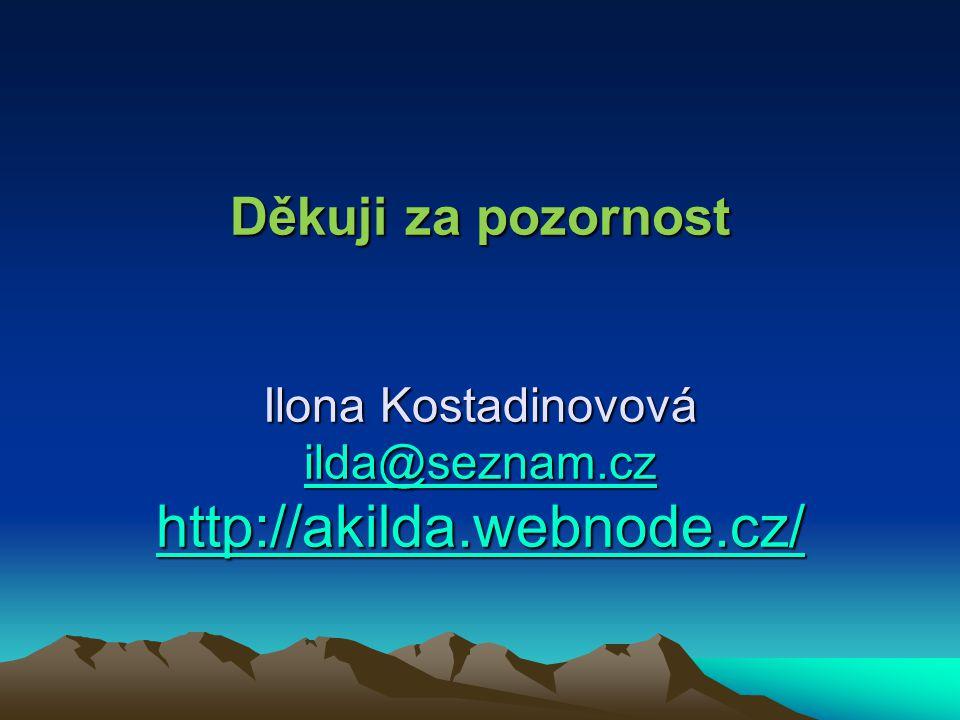 Děkuji za pozornost Ilona Kostadinovová ilda@seznam. cz http://akilda