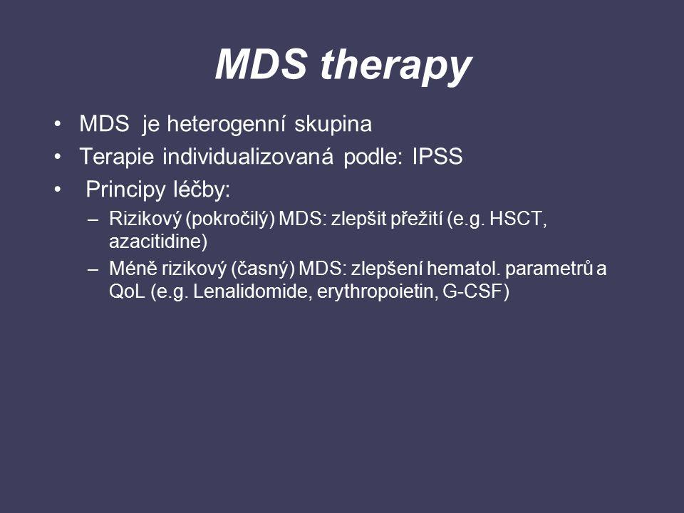 MDS therapy MDS je heterogenní skupina