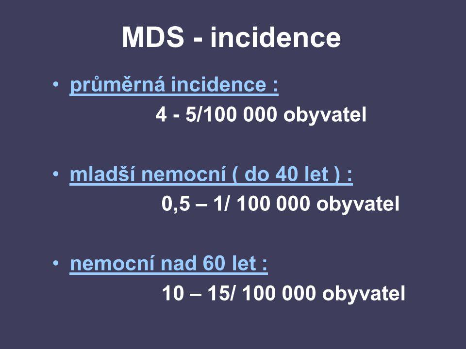 MDS - incidence průměrná incidence : 4 - 5/100 000 obyvatel