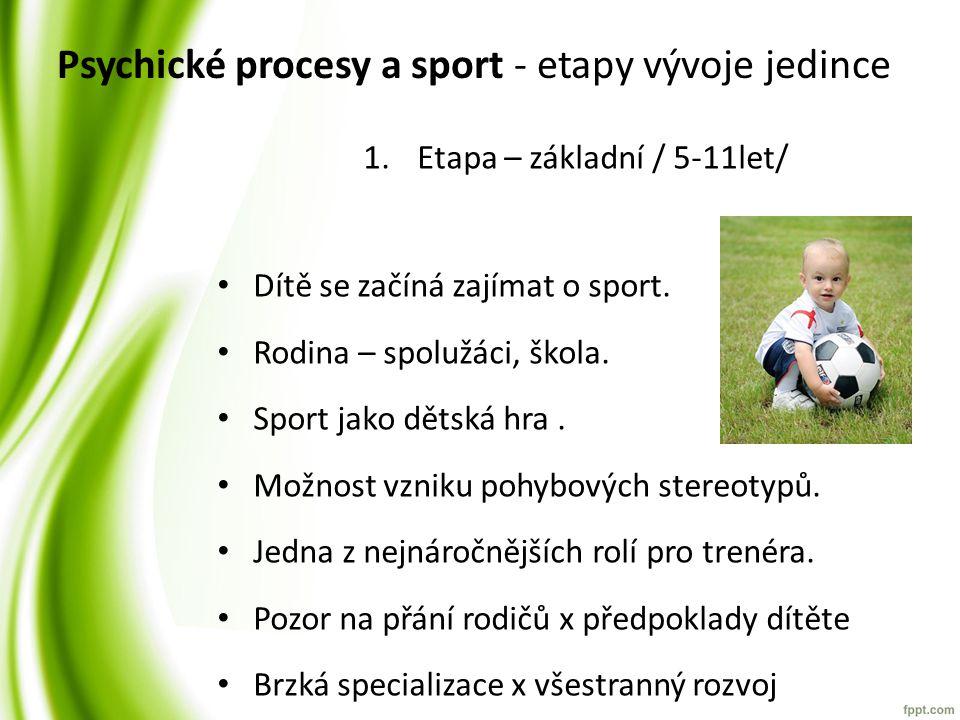 Psychické procesy a sport - etapy vývoje jedince