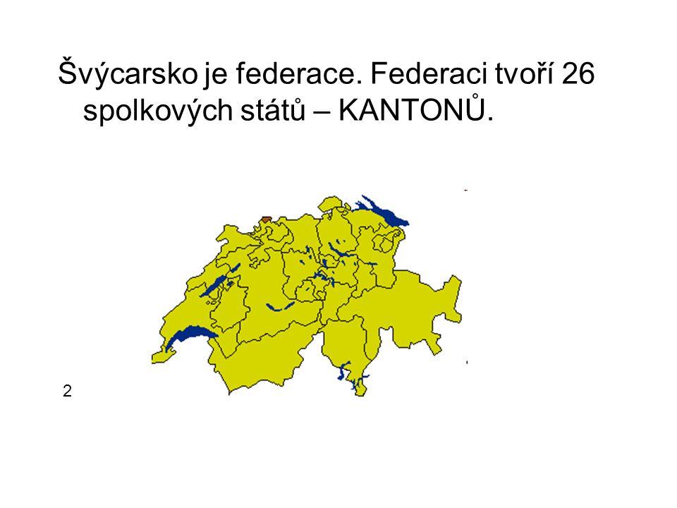 Švýcarsko je federace. Federaci tvoří 26 spolkových států – KANTONŮ.
