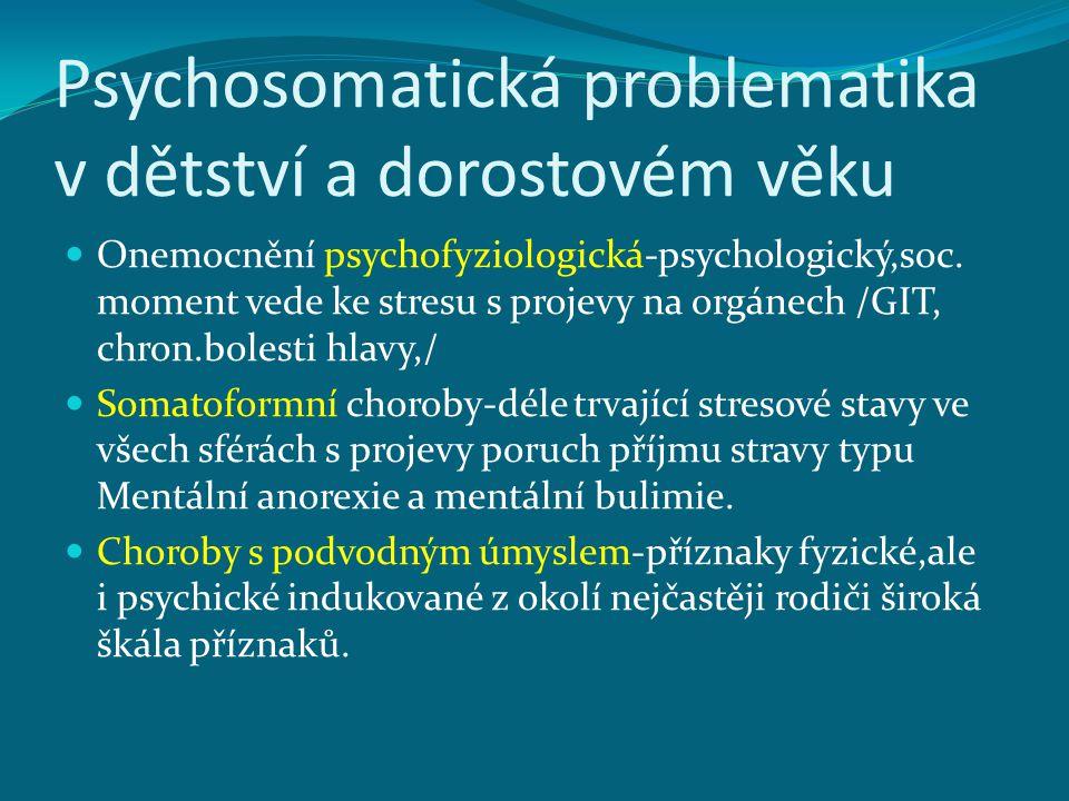 Psychosomatická problematika v dětství a dorostovém věku