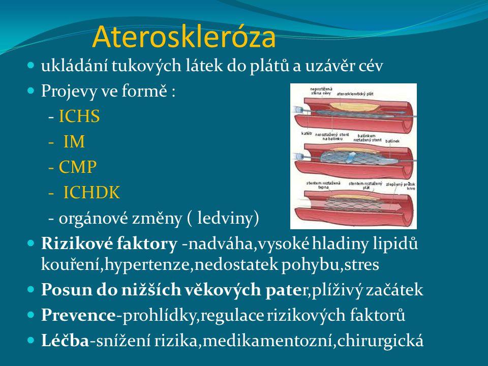Ateroskleróza ukládání tukových látek do plátů a uzávěr cév