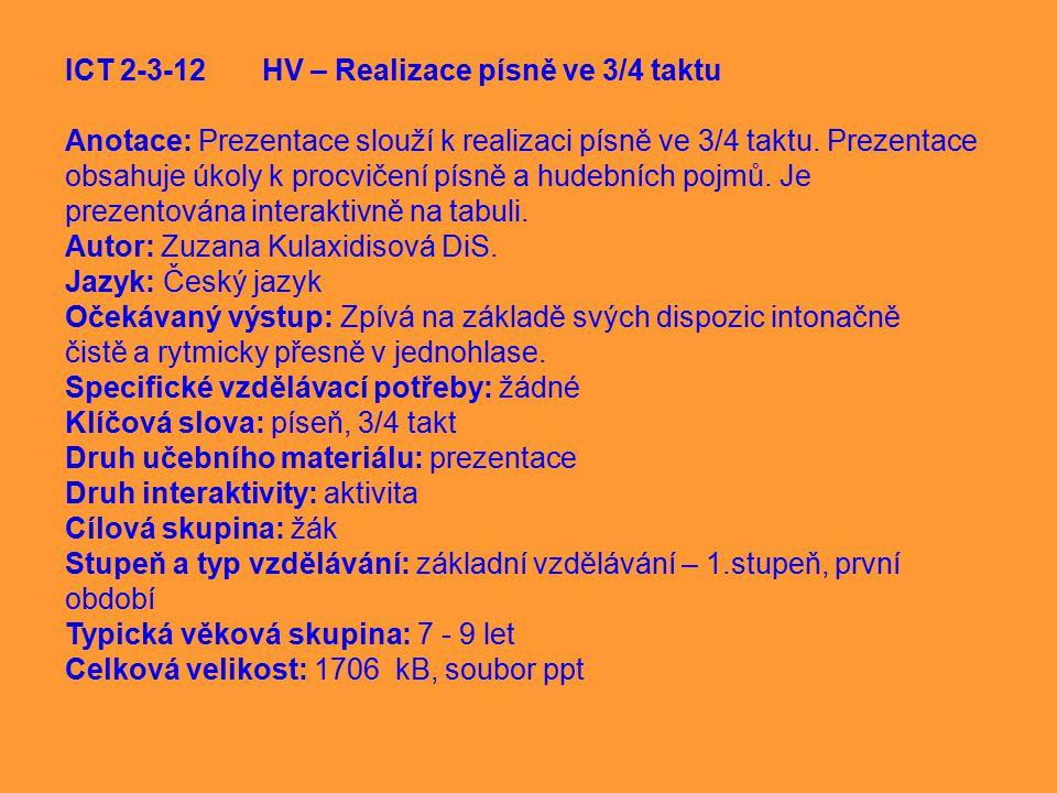 ICT 2-3-12 HV – Realizace písně ve 3/4 taktu
