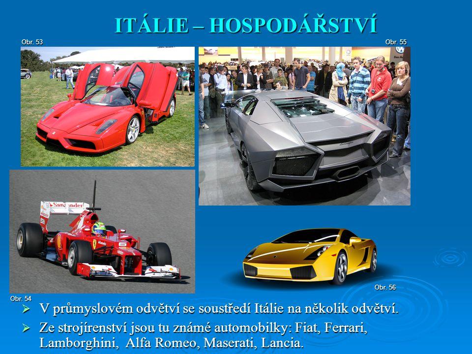ITÁLIE – HOSPODÁŘSTVÍ Obr. 53. Obr. 55. Obr. 56. Obr. 54. V průmyslovém odvětví se soustředí Itálie na několik odvětví.