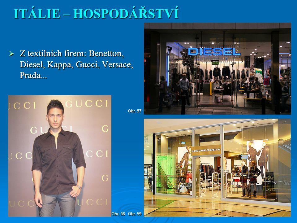 ITÁLIE – HOSPODÁŘSTVÍ Z textilních firem: Benetton, Diesel, Kappa, Gucci, Versace, Prada... Obr. 57.
