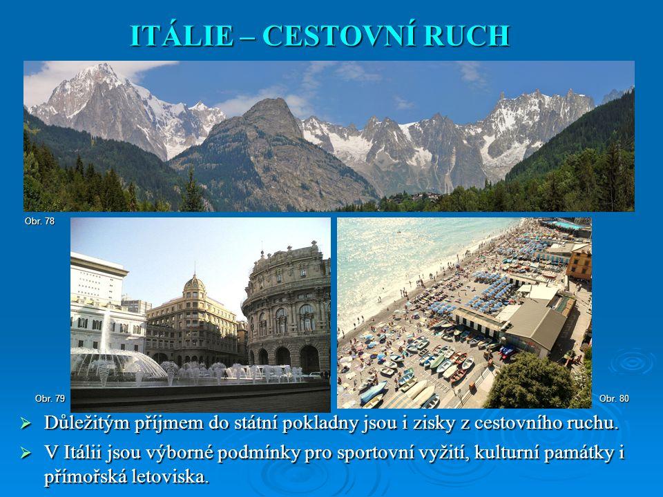 ITÁLIE – CESTOVNÍ RUCH Obr. 78. Obr. 79. Obr. 80. Důležitým příjmem do státní pokladny jsou i zisky z cestovního ruchu.
