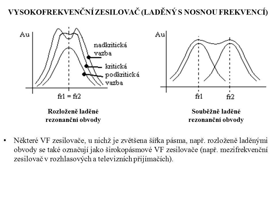 Rozloženě laděné rezonanční obvody Souběžně laděné rezonanční obvody