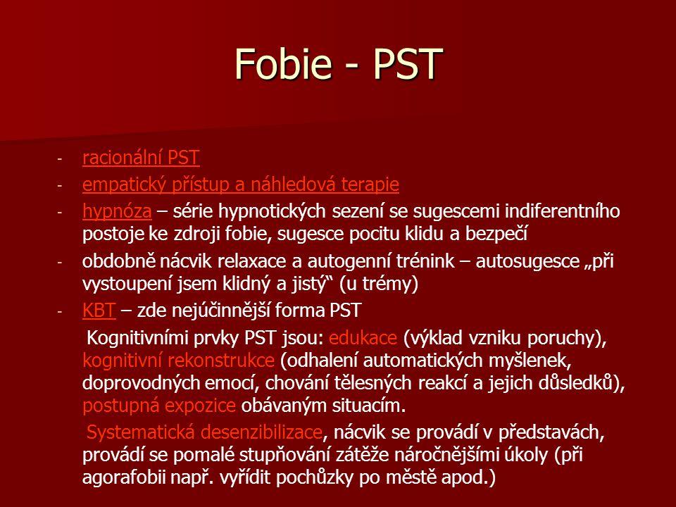 Fobie - PST racionální PST empatický přístup a náhledová terapie