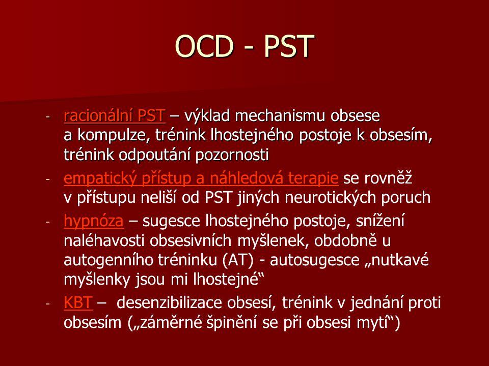 OCD - PST racionální PST – výklad mechanismu obsese a kompulze, trénink lhostejného postoje k obsesím, trénink odpoutání pozornosti.