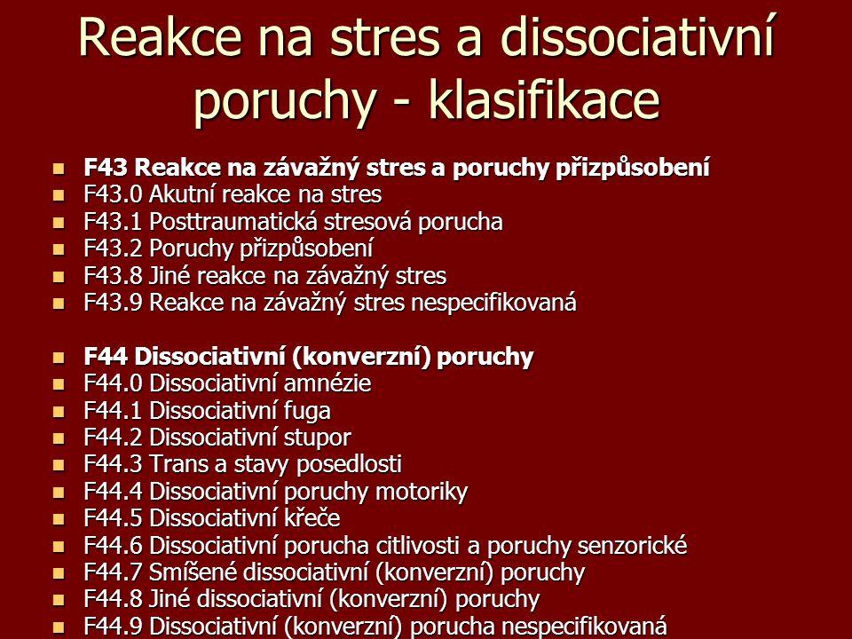 Reakce na stres a dissociativní poruchy - klasifikace