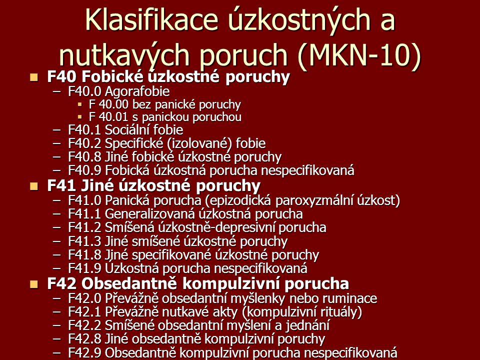 Klasifikace úzkostných a nutkavých poruch (MKN-10)