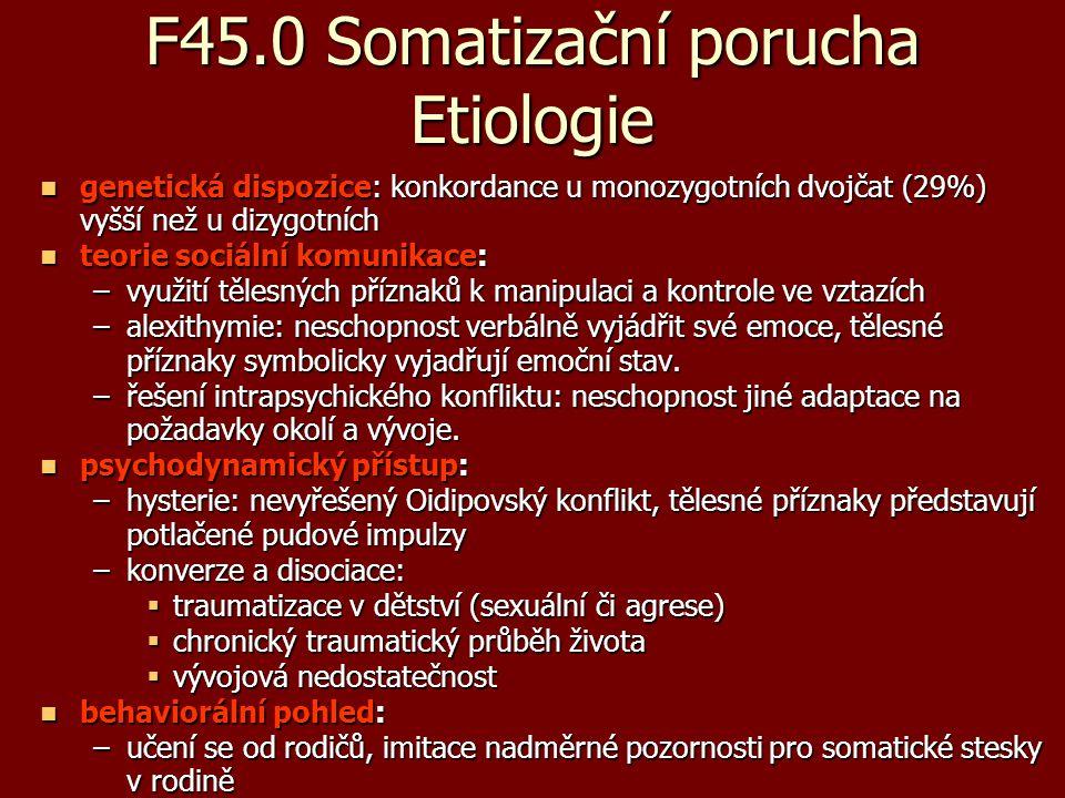 F45.0 Somatizační porucha Etiologie