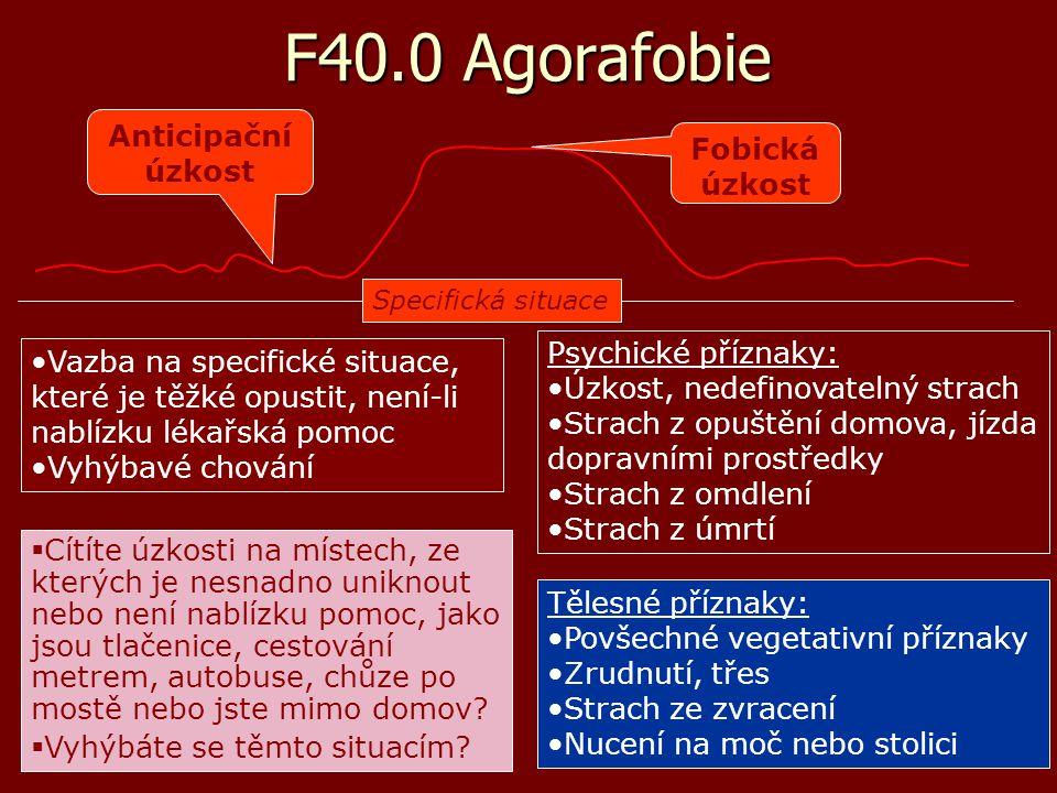 F40.0 Agorafobie Anticipační úzkost Fobická úzkost Psychické příznaky: