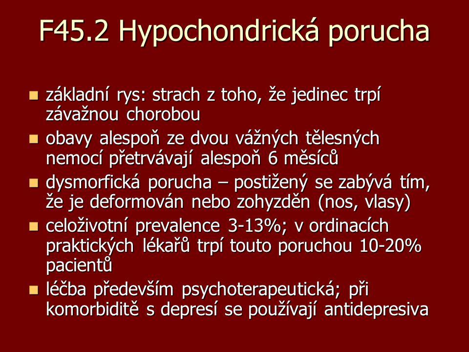 F45.2 Hypochondrická porucha