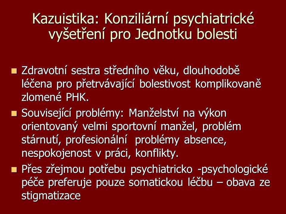 Kazuistika: Konziliární psychiatrické vyšetření pro Jednotku bolesti