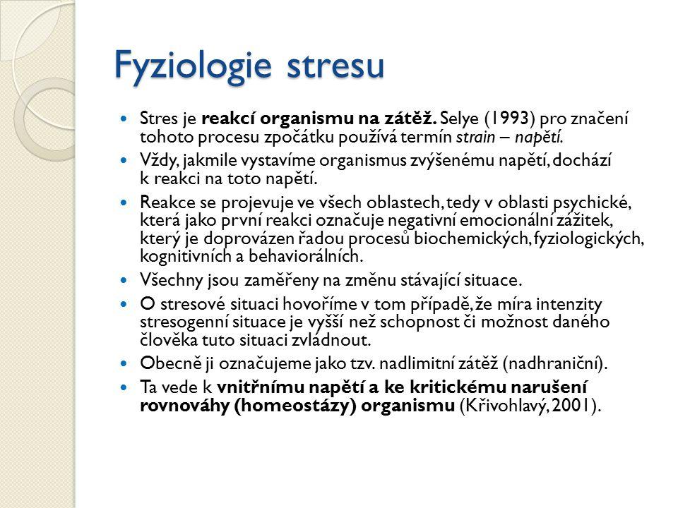 Fyziologie stresu Stres je reakcí organismu na zátěž. Selye (1993) pro značení tohoto procesu zpočátku používá termín strain – napětí.