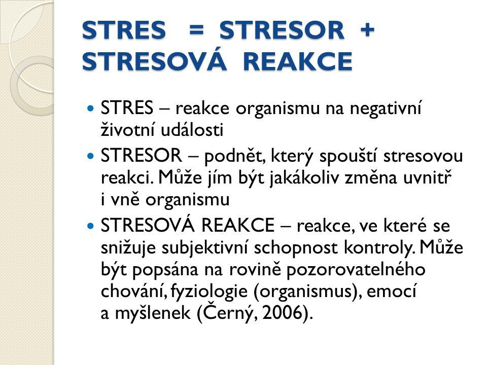 STRES = STRESOR + STRESOVÁ REAKCE