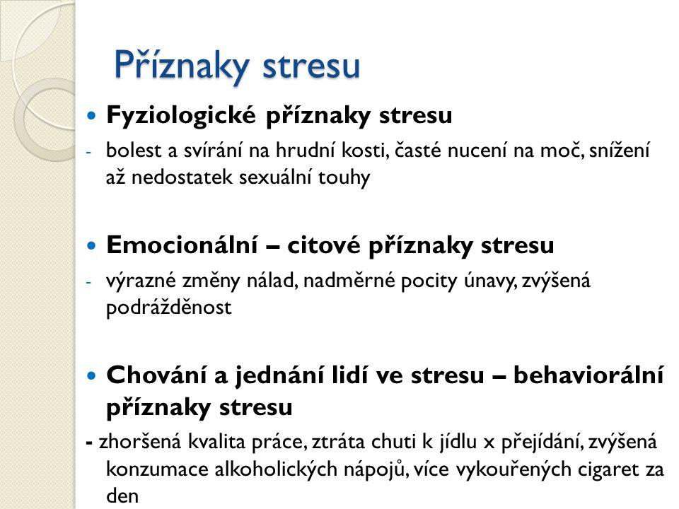 Příznaky stresu Fyziologické příznaky stresu