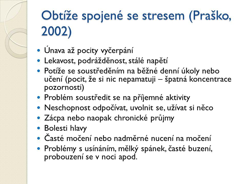Obtíže spojené se stresem (Praško, 2002)