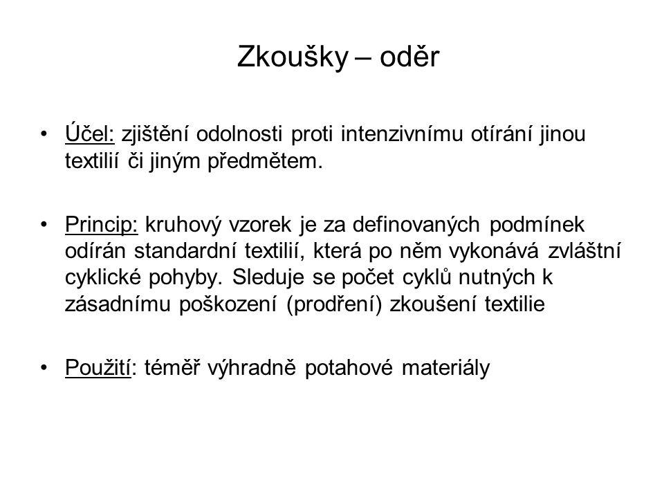 Zkoušky – oděr Účel: zjištění odolnosti proti intenzivnímu otírání jinou textilií či jiným předmětem.