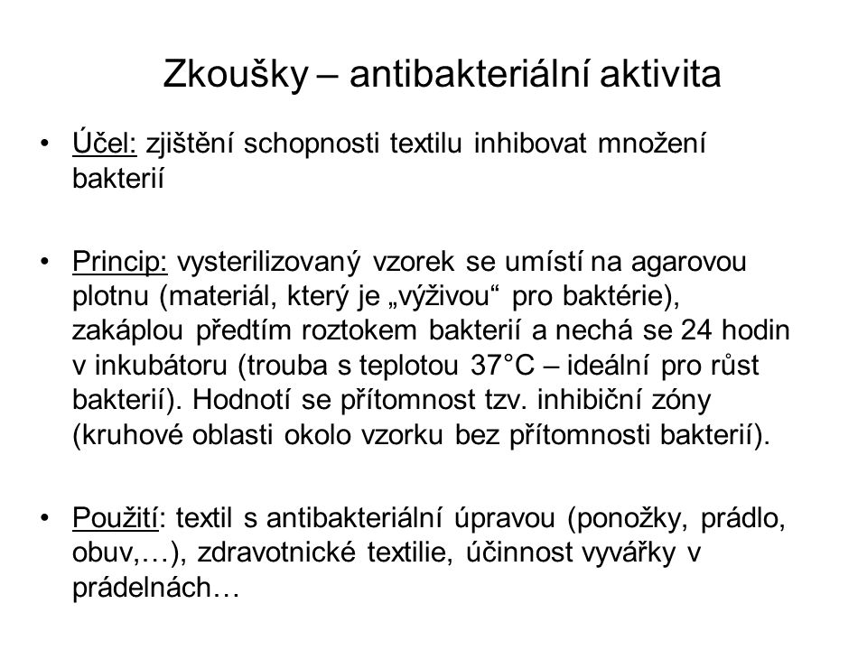 Zkoušky – antibakteriální aktivita