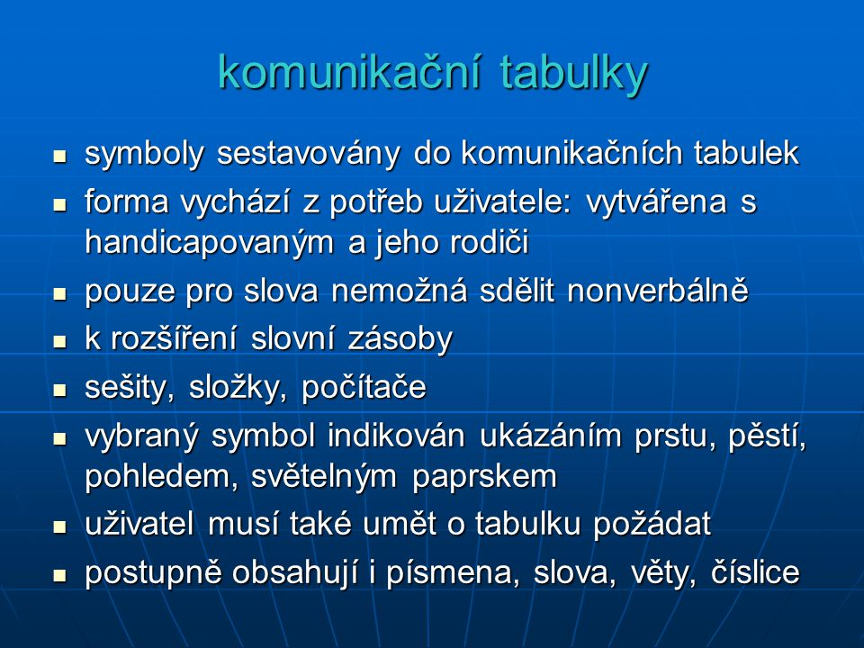 komunikační tabulky symboly sestavovány do komunikačních tabulek