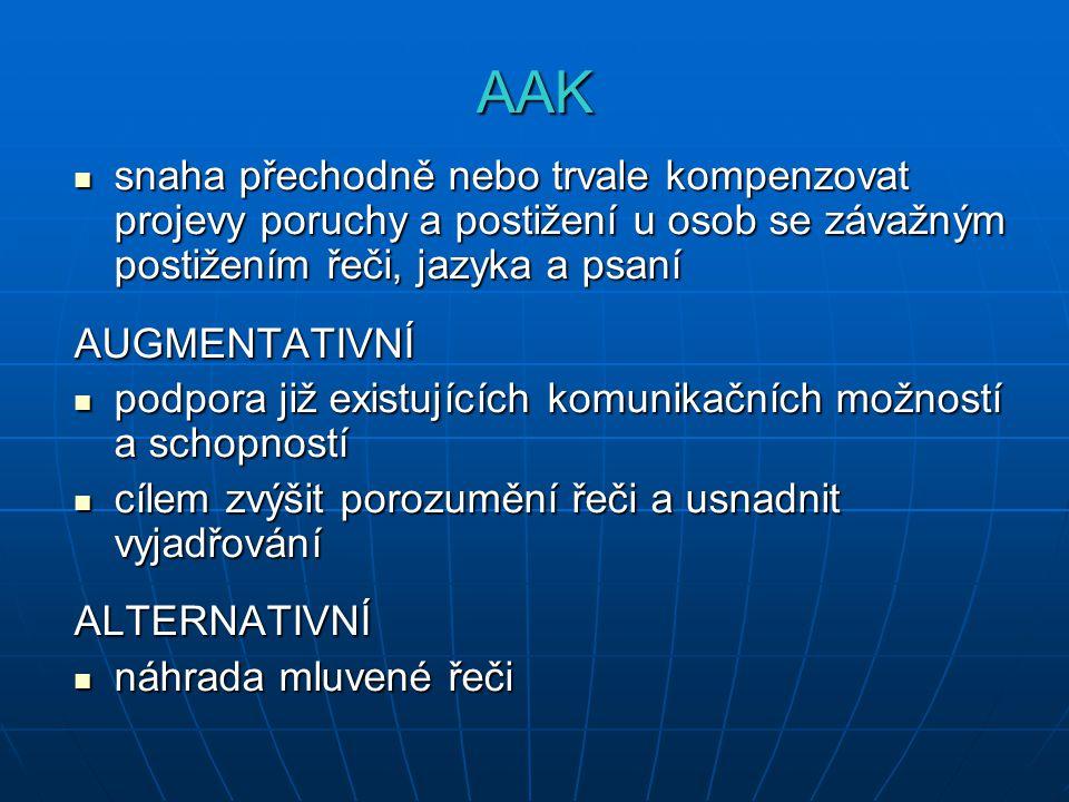 AAK snaha přechodně nebo trvale kompenzovat projevy poruchy a postižení u osob se závažným postižením řeči, jazyka a psaní.