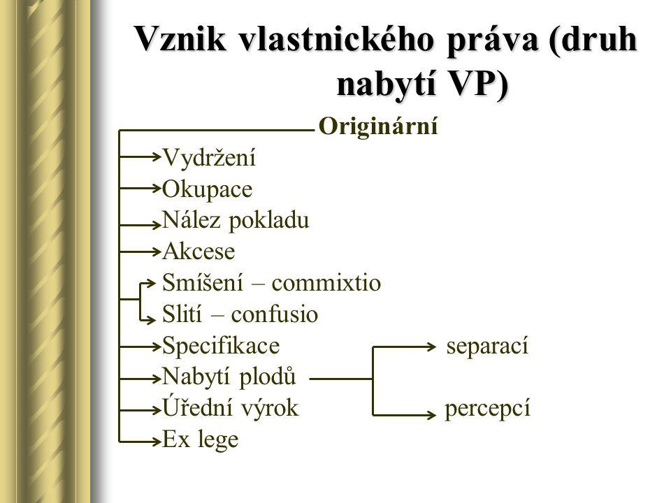 Vznik vlastnického práva (druh nabytí VP)