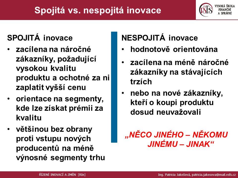 """Spojitá vs. nespojitá inovace """"NĚCO JINÉHO – NĚKOMU JINÉMU – JINAK"""