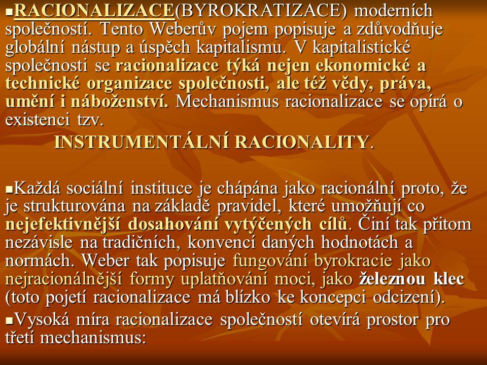 RACIONALIZACE(BYROKRATIZACE) moderních společností