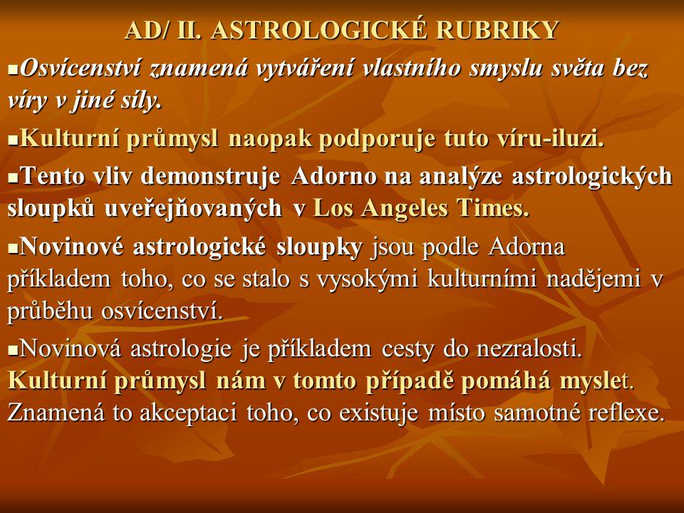 AD/ II. ASTROLOGICKÉ RUBRIKY