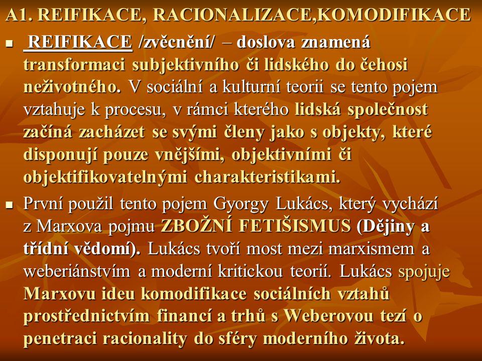 A1. REIFIKACE, RACIONALIZACE,KOMODIFIKACE