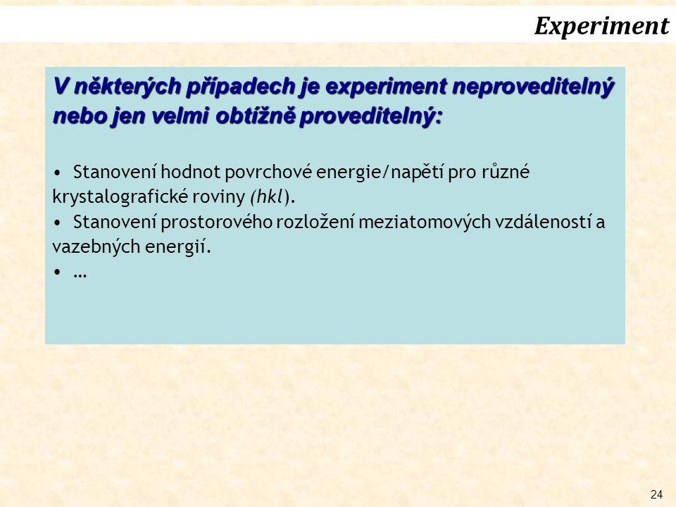 Experiment V některých případech je experiment neproveditelný nebo jen velmi obtížně proveditelný: